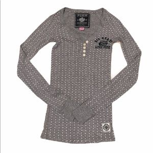 🎀2/$20 VS PINK Star Pattern Thermal Henley Shirt
